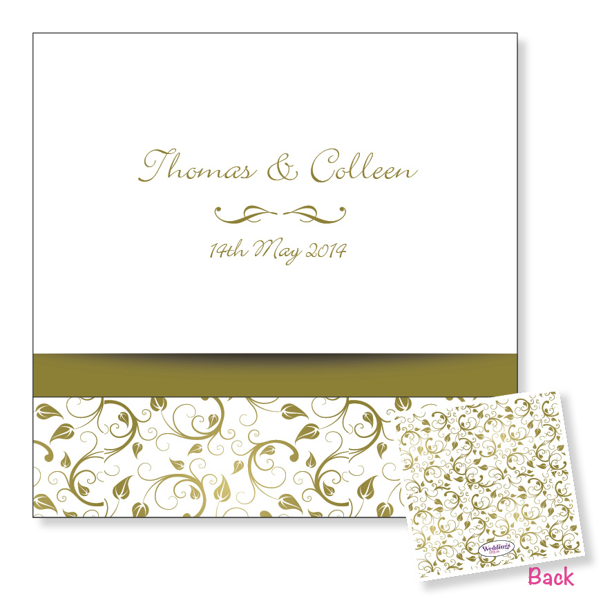 Folding wedding invitation - Gold floral