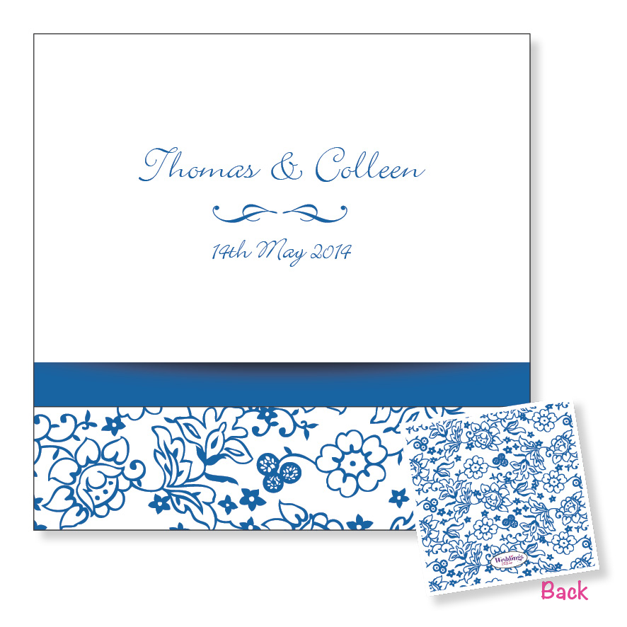 Folding wedding invitation - Blue floral