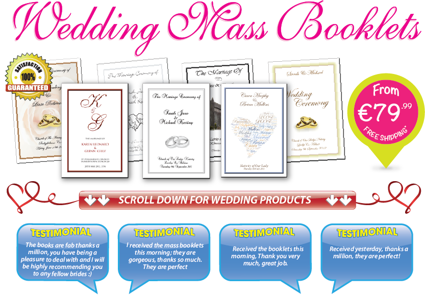 Wedding mass booklets