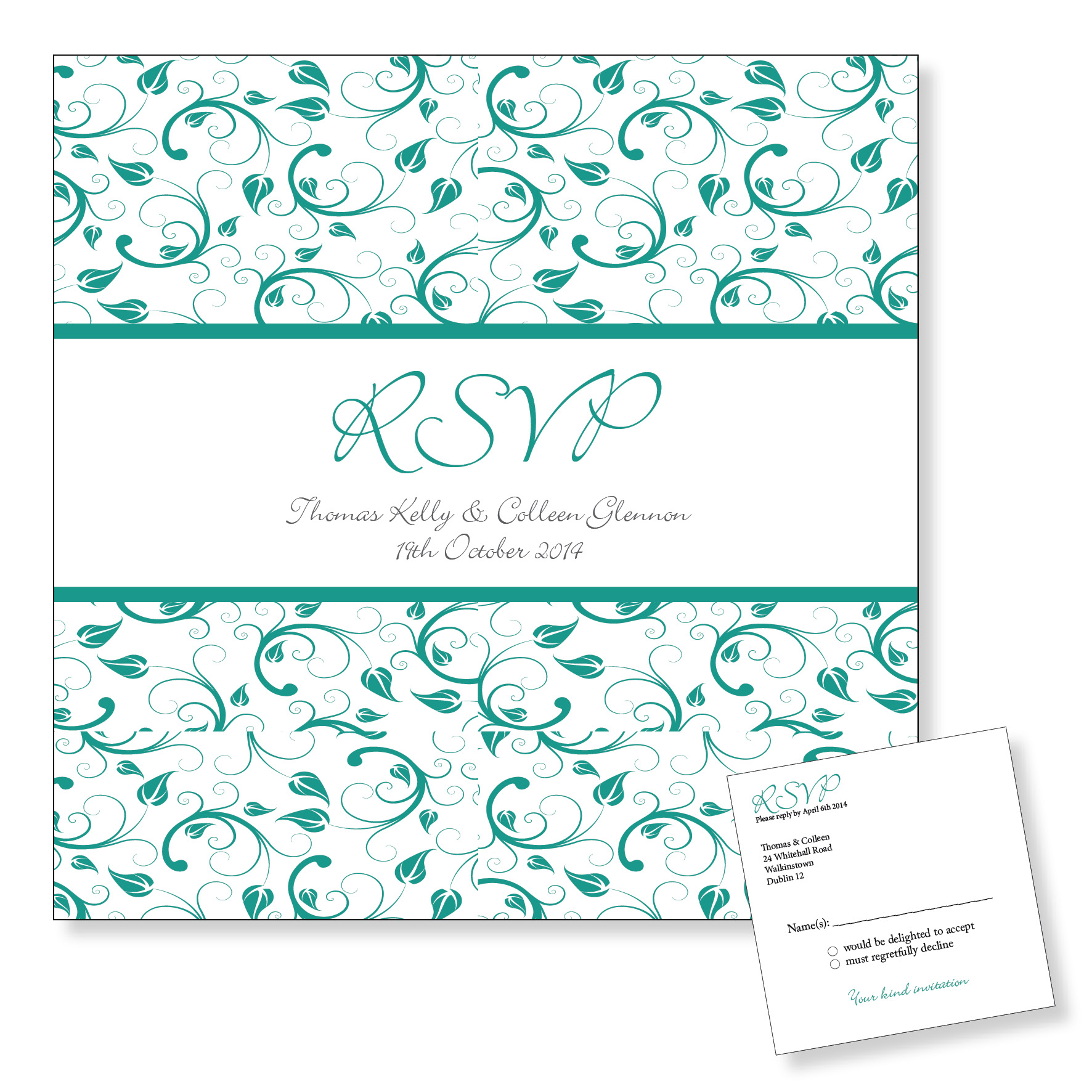 wedding rsvp  reply cards  dublin  ireland  turquoise floral design